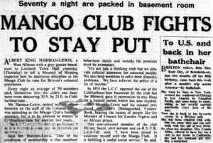 SOUTH LONDON PRESS ARTICLE ON 'THE MANGO CLUB'