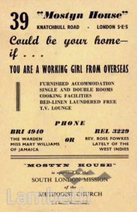 'MOSTYN HOUSE' HANDBILL, KNATCHBULL ROAD, BRIXTON NORTH