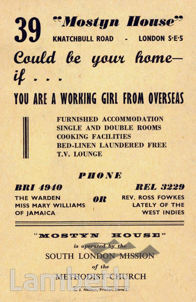 'MOSTYN HOUSE' HANDBILL, KNATCHBULL ROAD, BRIXTON NORTH