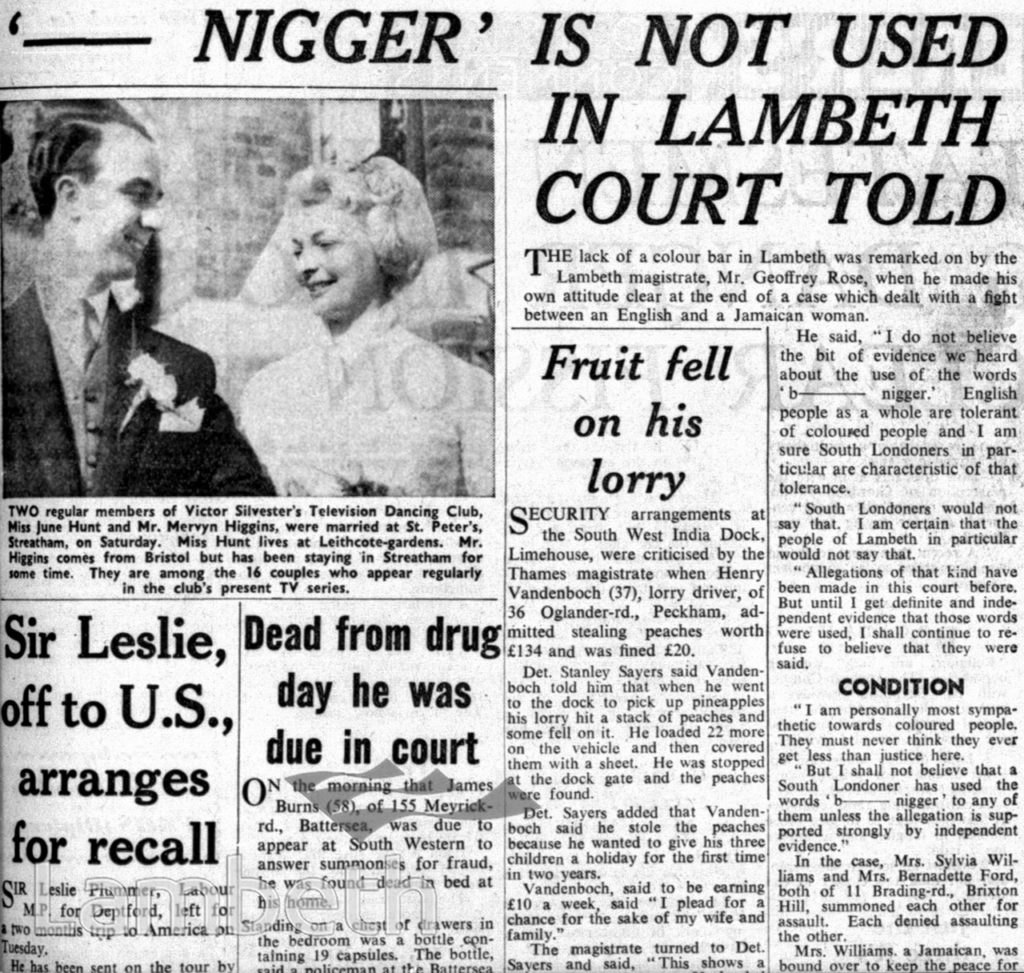 SOUTH LONDON PRESS REPORT ON RACIST ABUSE CASE