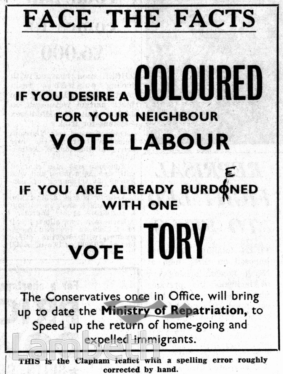 TORY ELECTION PAMPHLET, CLAPHAM