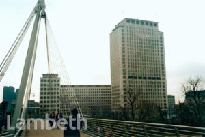 SHELL TOWER FROM JUBILEE FOOTBRIDGE, SOUTH BANK, WATERLOO