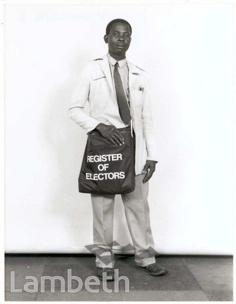 PORTRAITURE: MAN WITH ELECTORAL REGISTRATION BAG