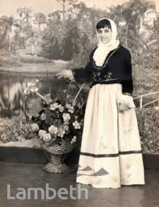 CHRISTINA ALEXANDROU IN GREEK CYPRIOT DRESS, STOCKWELL