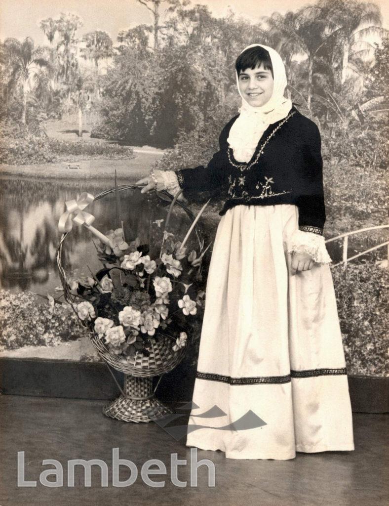 CHRISTINA ALEXANDROU IN GREEK CYPRIOT DRESS, STOCKWELL