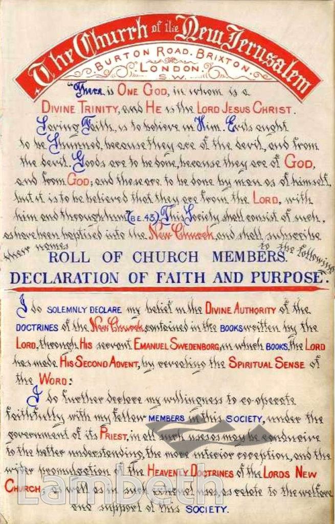 DECLARATION OF FAITH, MICHAEL CHURCH, BRIXTON NORTH