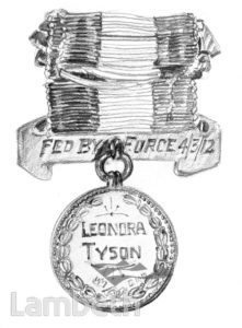 LEONORA TYSON SUFFRAGETTE MEDAL FOR VALOUR