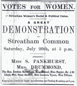 SUFFRAGETTE DEMONSTRATION NOTICE