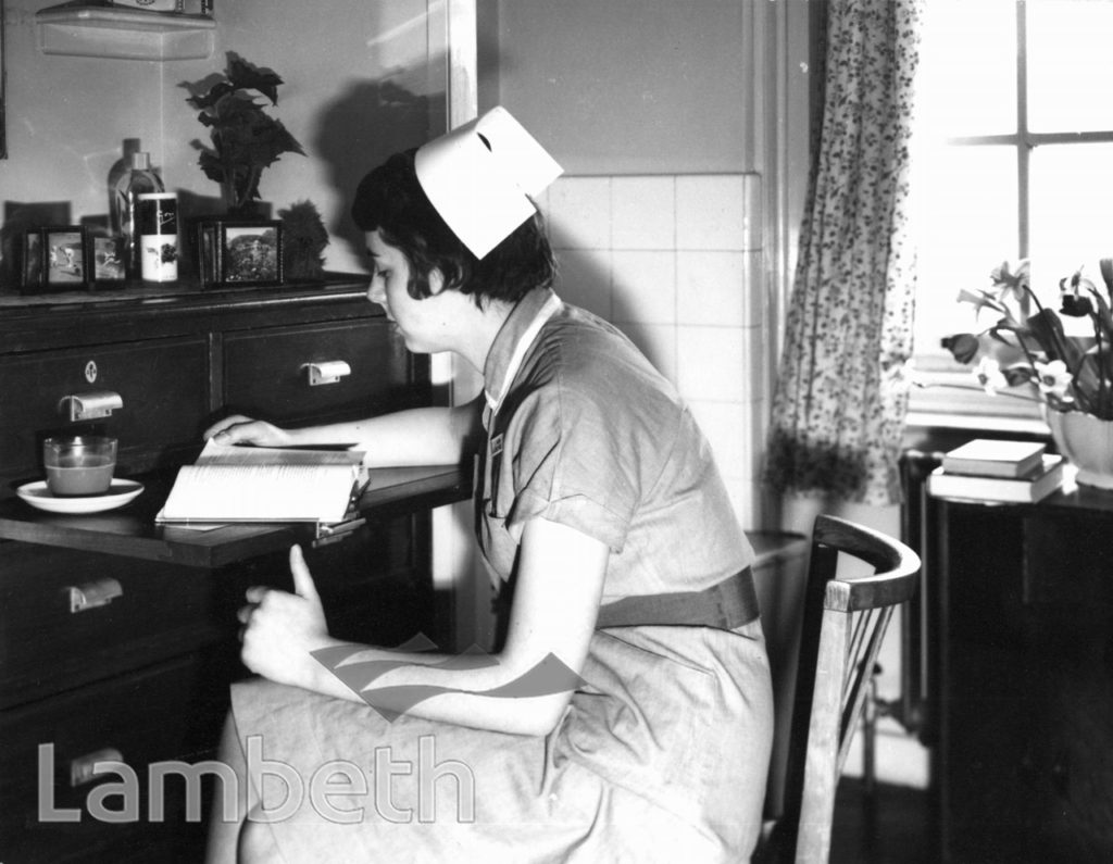 NURSE AT SOUTH LONDON HOSPITAL, CLAPHAM COMMON SOUTH SIDE