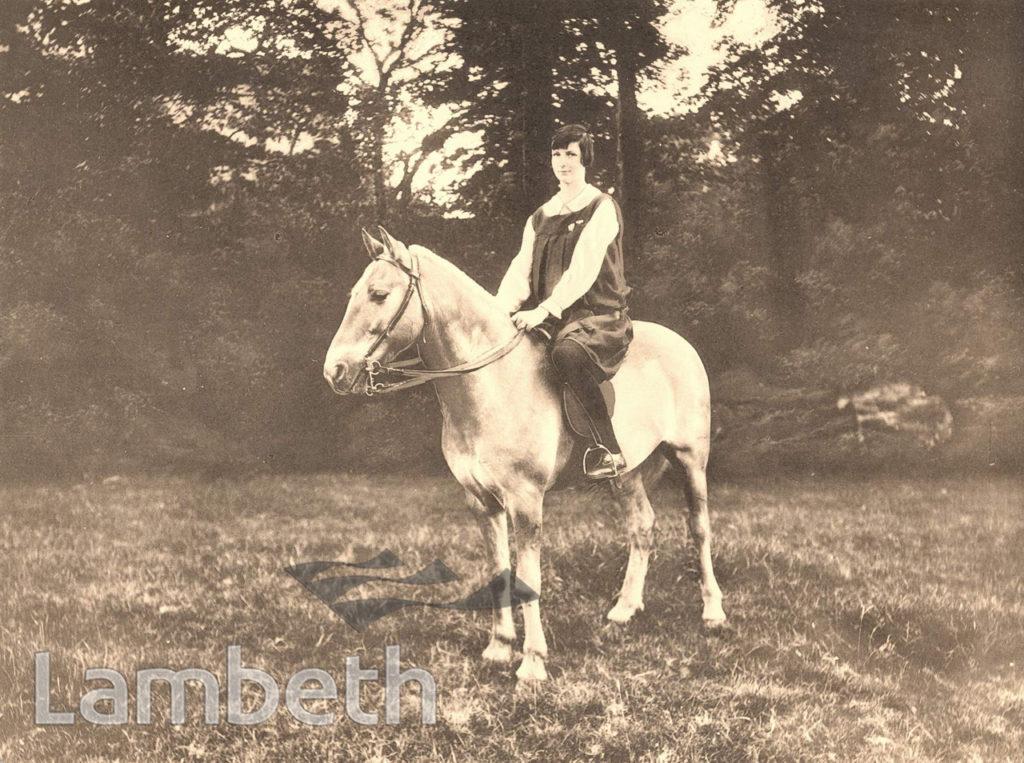 PUPIL & HORSE, NOTRE DAME CONVENT, CLAPHAM COMMON SOUTH SIDE