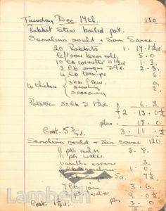 MENU, CASH & CARRY KITCHEN, KENNINGTON: WORLD WAR II