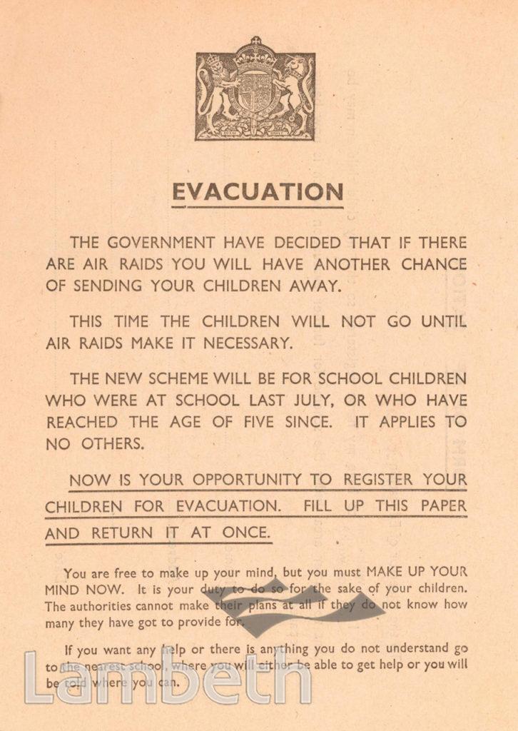 EVACUATION FORM: WORLD WAR II