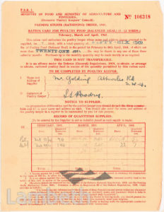 POULTRY FOOD RATION FORM: WORLD WAR II