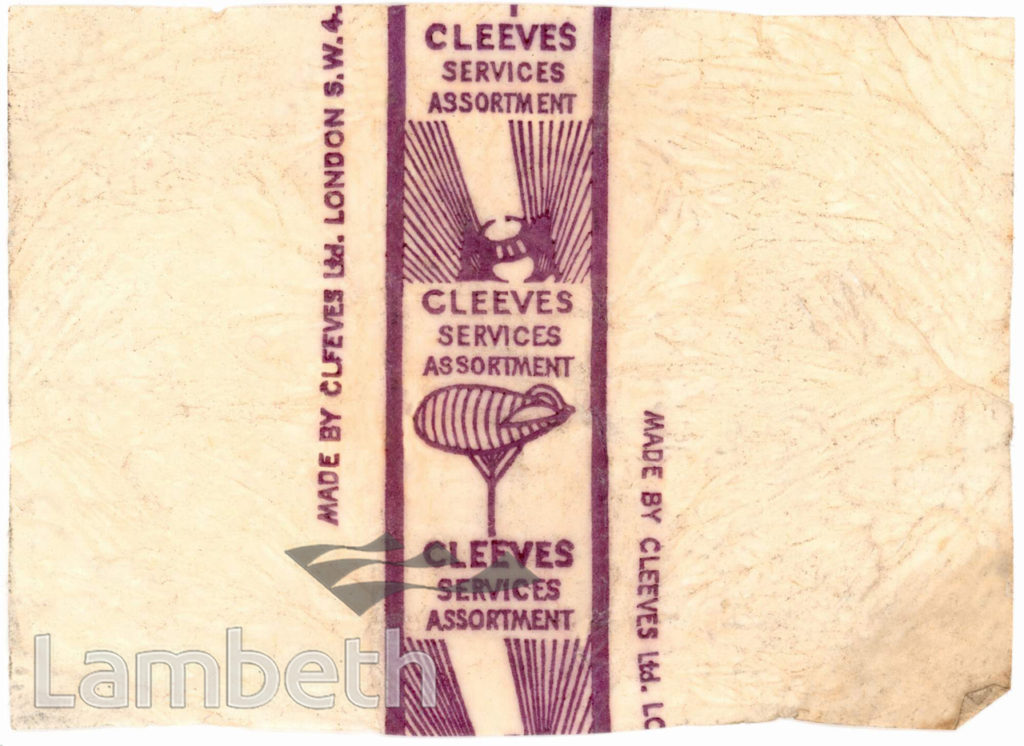 SWEET WRAPPER FROM CLEEVES OF CLAPHAM: WORLD WAR II