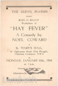 'HAY FEVER' PROGRAMME, ST MARY'S HALL, CLAPHAM