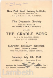 'THE CRADLE SONG' PROGRAMME, CLAPHAM LITERARY INSTITUTE