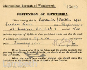DIPHTHERIA INNOCULATION CERTIFICATE: WORLD WAR II