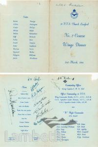 RAF MENU FOR WINGS DINNER