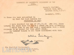 LAMBETH PRISONERS OF WAR FUND: WORLD WAR II