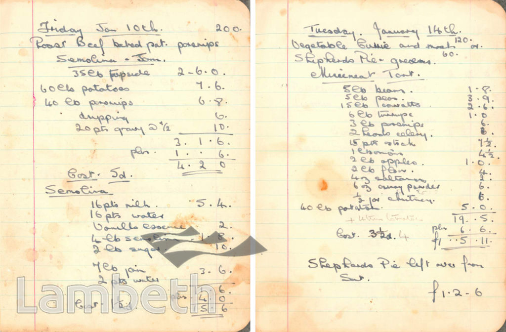 MENU BOOK, CASH & CARRY KITCHEN, KENNINGTON: WORLD WAR II