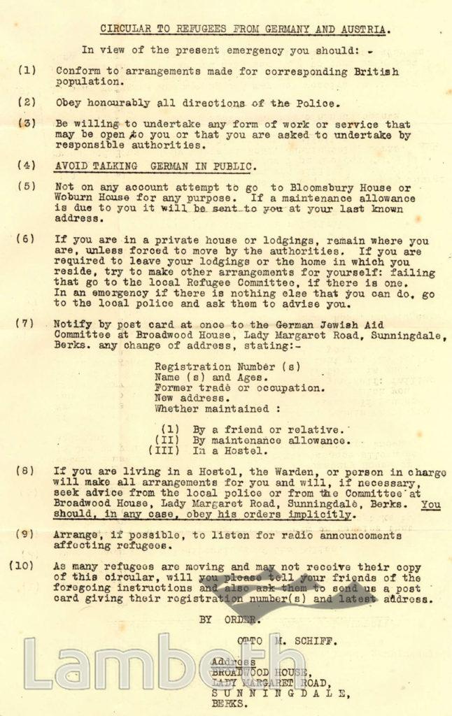 CIRCULAR TO JEWISH REFUGEES: WORLD WAR II