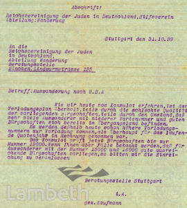 LETTER REGARDING JEWISH EMIGRATION: WORLD WAR II