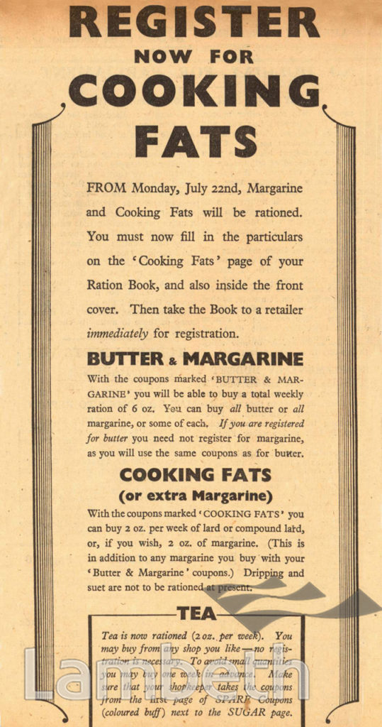 RATIONING OF FATS: WORLD WAR II