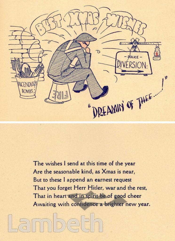 RESERVE POLICE CHRISTMAS CARD: WORLD WAR II