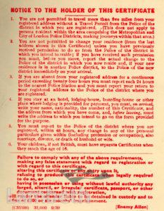 ENEMY ALIEN'S CERTIFICATE: WORLD WAR II