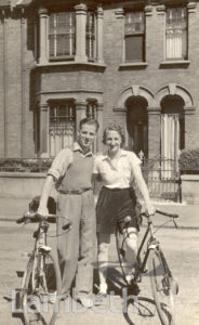 COUPLE WITH BICYCLES, HYDETHORPE ROAD, BALHAM