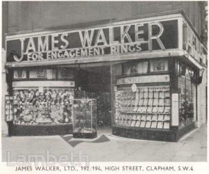 JAMES WALKER JEWELLERS, HIGH STREET, CLAPHAM