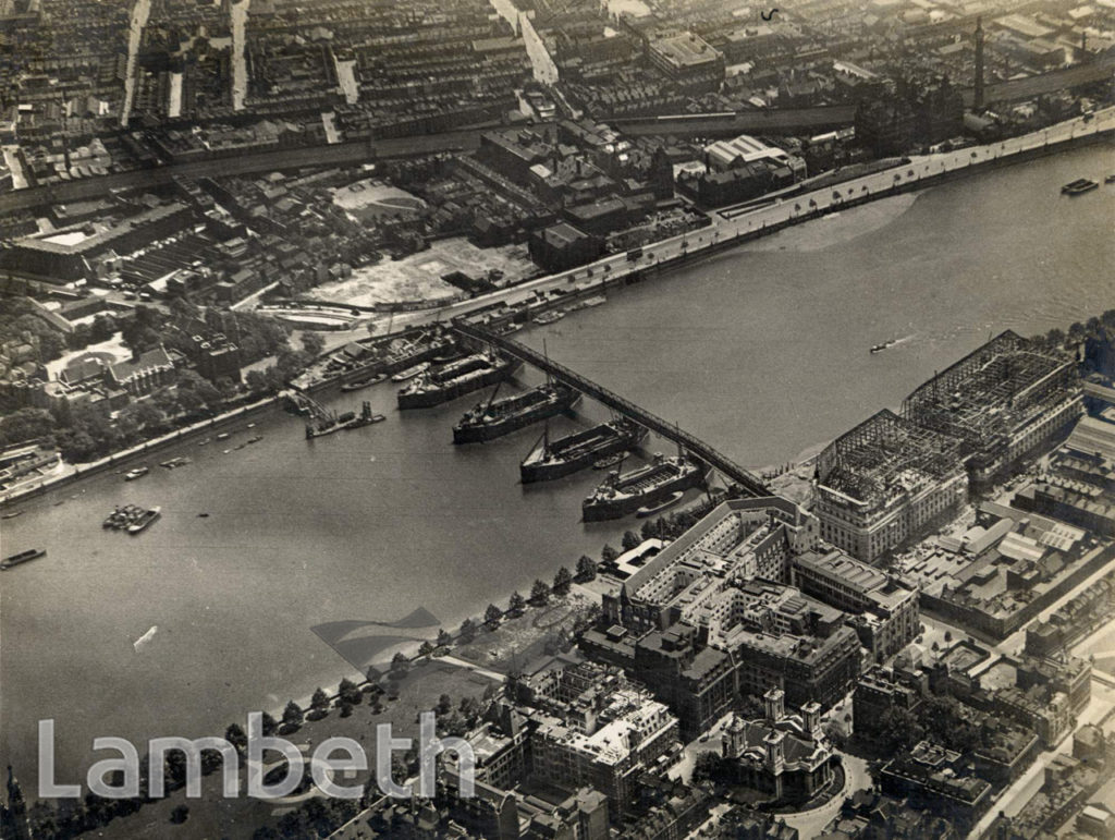 AERIAL VIEW ALBERT EMBANKMENT AND THE THAMES