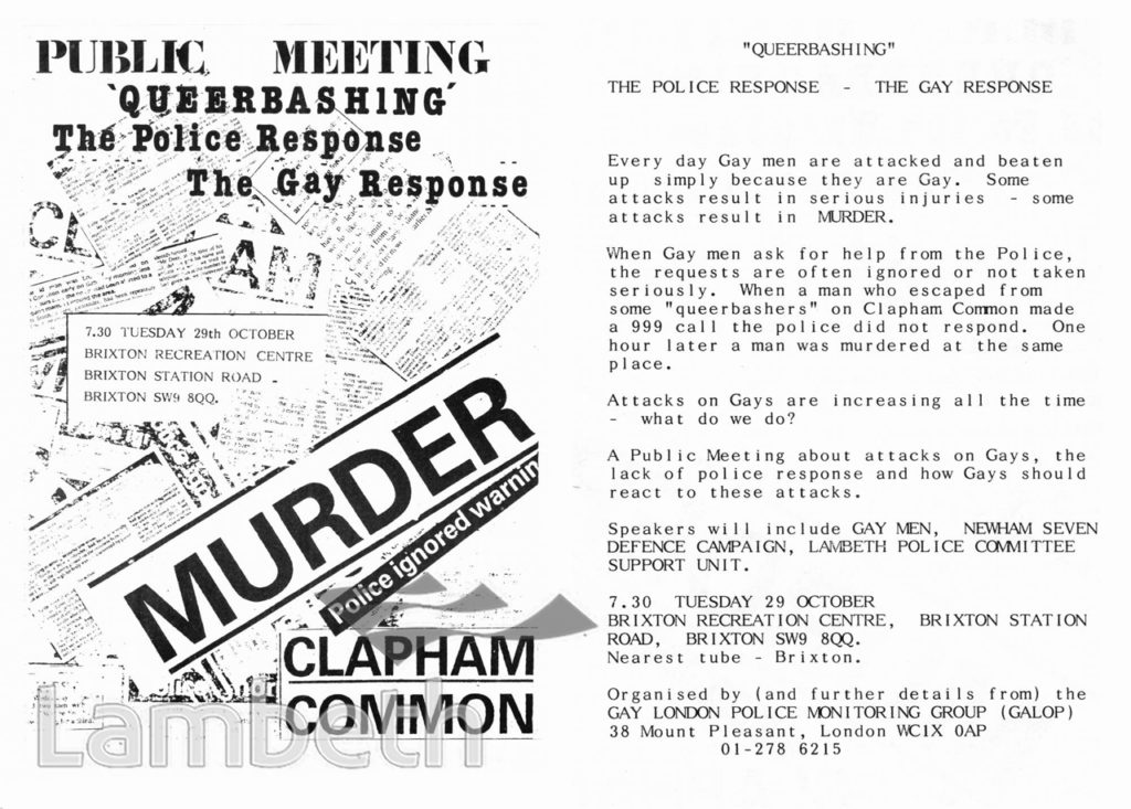 'QUEERBASHING' PUBLIC MEETING LEAFLET, BRIXTON