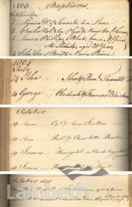 BLACK BAPTISMS, ST MARY'S REGISTERS, LAMBETH