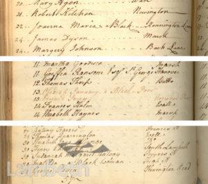 BLACK BURIALS, ST MARY'S REGISTERS, LAMBETH