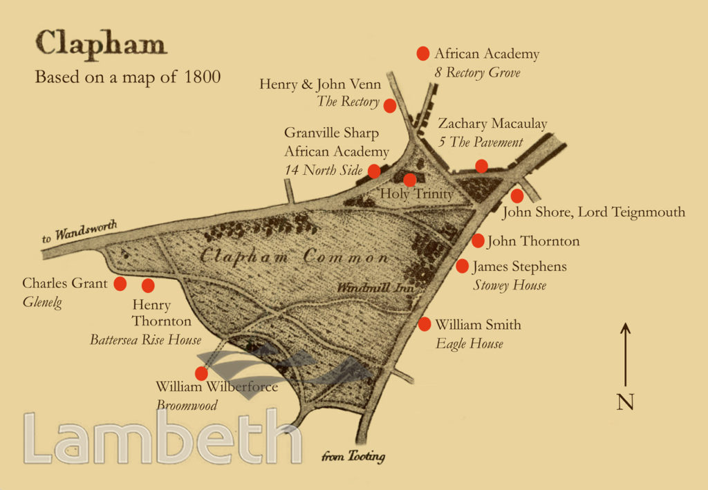 CLAPHAM SECT LOCATION MAP, CLAPHAM