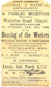 HOUSING OF THE WORKERS, PUBLIC MEETING, WATERLOO ROAD