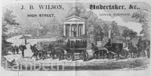 ADVERT, J.B.WILSON, UNDERTAKER, WEST NORWOOD
