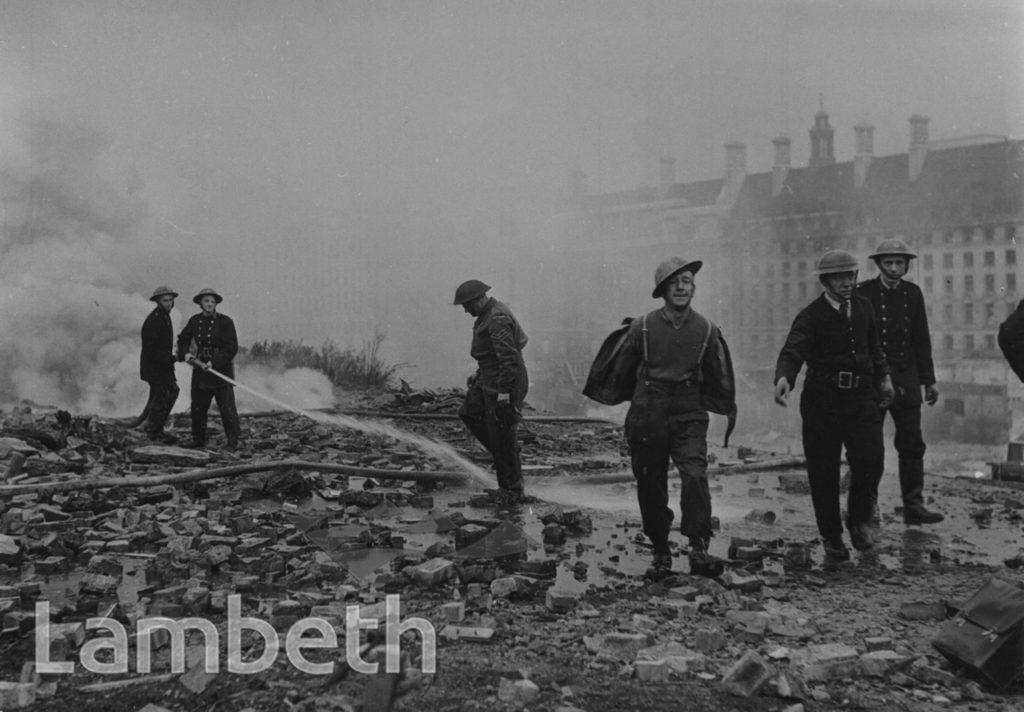 FIREMEN, BOMB DAMAGE, COUNTY HALL, WATERLOO