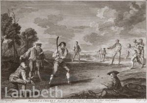 CRICKET PLAYING, VAUXHALL GARDENS PAINTING