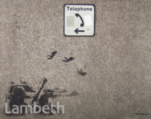 BANKSY GRAFFITI, ALBERT EMBANKMENT, LAMBETH