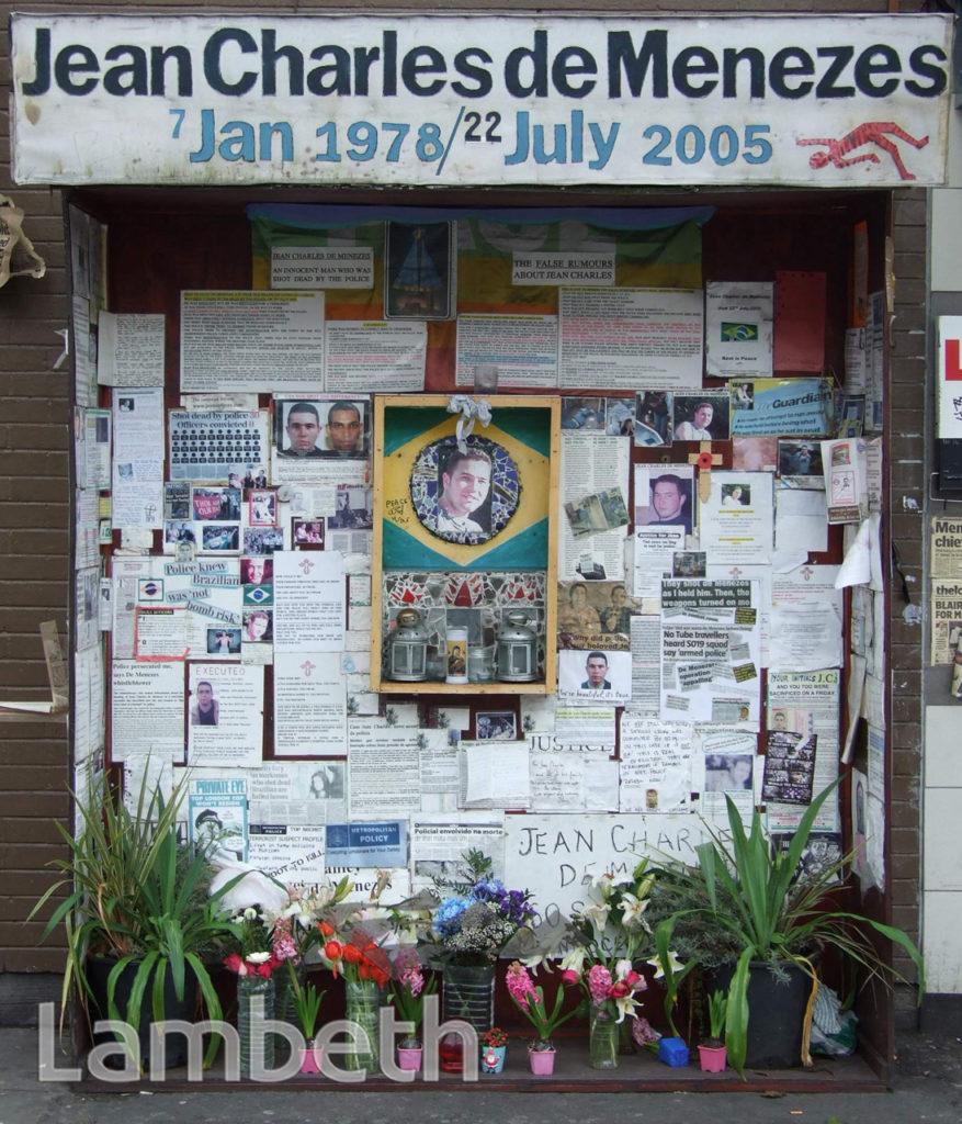 DE MENEZES MEMORIAL, STOCKWELL UNDERGROUND STATION