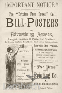 BILL-POSTERS' ADVERT, BRIXTON FREE PRESS