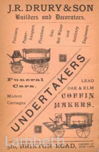 ADVERT, J.R.DRURY, UNDERTAKERS, 510 BRIXTON ROAD