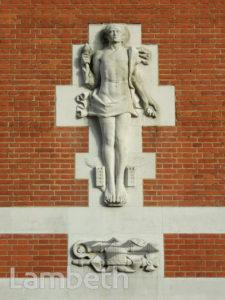 SCULPTURE, LAMBETH TOWN HALL, BRIXTON