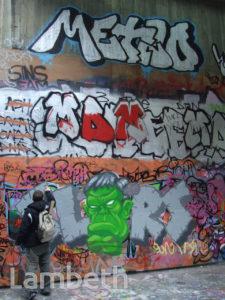 GRAFFITI ARTIST AT WORK, QUEEN ELIZABETH HALL, SOUTH BANK