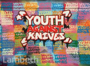 'YOUTH AGAINST KNIVES' ARTWORK, AYTOUN ROAD, STOCKWELL