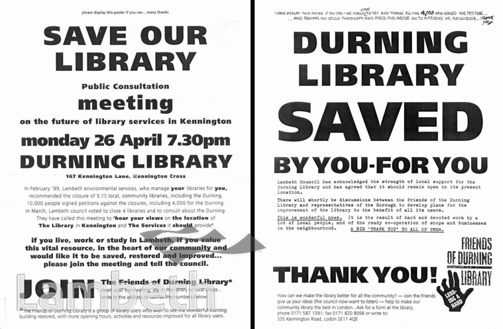 SAVE DURNING LIBRARY CAMPAIGN, KENNINGTON