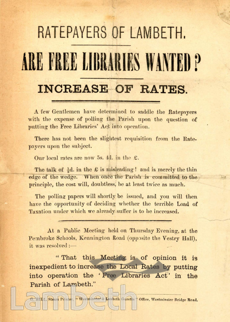 FREE LIBRARIES PROTEST LEAFLET, LAMBETH