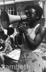 OLIVE MORRIS, PROTEST RALLY, BRIXTON OVAL, BRIXTON